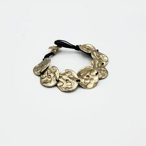 Leather Bracelet with Gold Coins